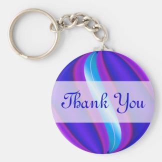 Thank You blue purple Basic Round Button Key Ring