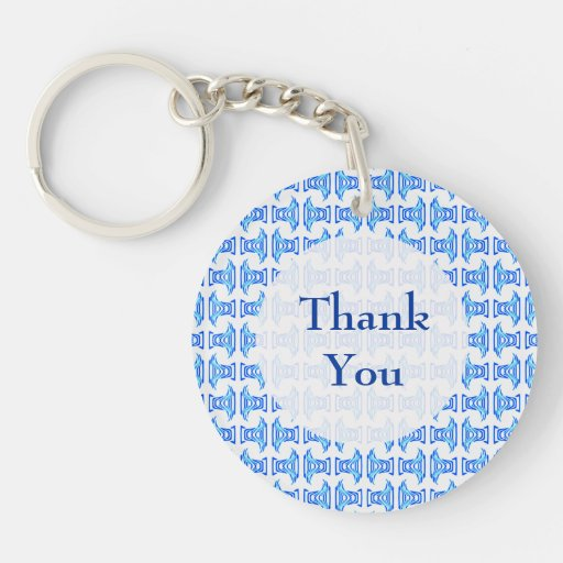 Thank You Blue Retro Pattern Keychains