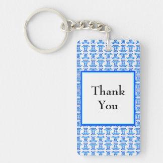 Thank You Blue Retro Pattern Double-Sided Rectangular Acrylic Key Ring