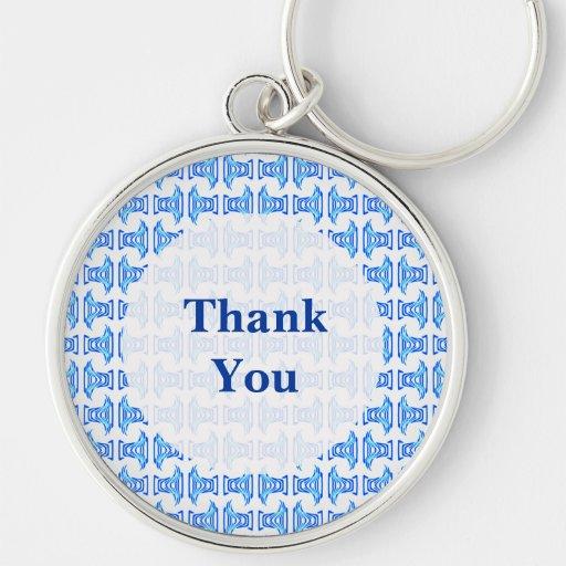Thank You Blue Retro Pattern Key Chain