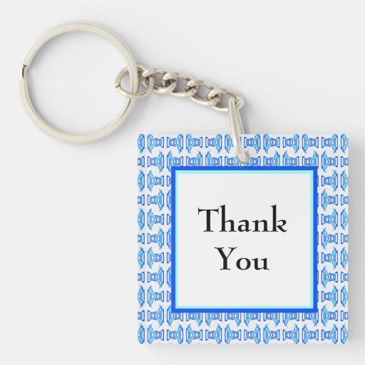Thank You Blue Retro Pattern Square Acrylic Keychains