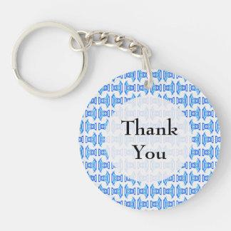 Thank You Blue Retro Pattern Double-Sided Round Acrylic Key Ring