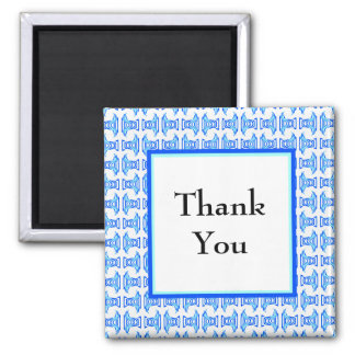 Thank You Blue Retro Pattern Refrigerator Magnet