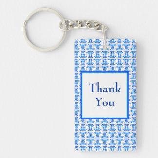 Thank You Blue Retro Pattern Single-Sided Rectangular Acrylic Key Ring