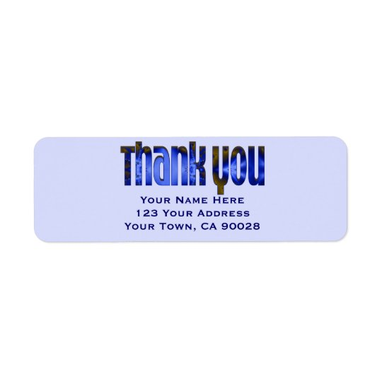 Thank You blue Return Address Label
