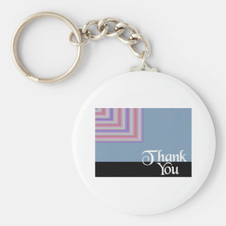 Thank You Blue Square Basic Round Button Key Ring