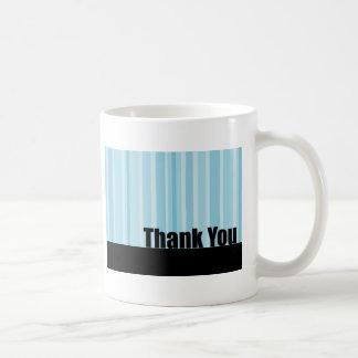 Thank You Blue Stripe Basic White Mug