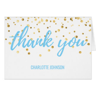 THANK YOU Blue Turquoise Gold Confetti Card