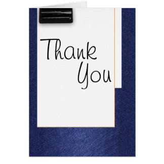 Thank you blue white school vintage cursive card