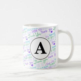 Thank You Blue Word Art Monogram Basic White Mug
