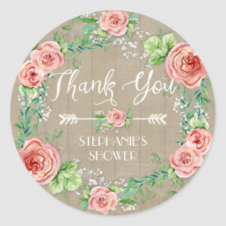 Thank You BOHO Bohemian Floral Babys Breath Rustic Classic Round Sticker