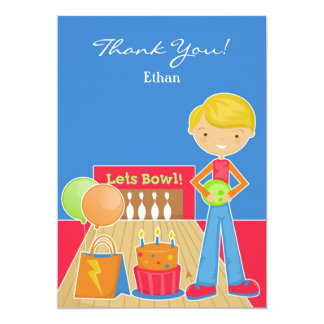 Thank You Bowling Party Flat Card 13 Cm X 18 Cm Invitation Card