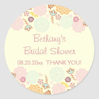 Thank You Bridal Shower Fancy Modern Floral Classic Round Sticker