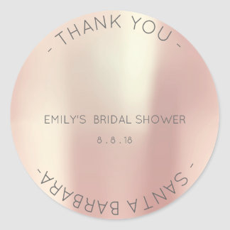 Thank You Bridal Shower Pink Rose Pearly Champlain Round Sticker