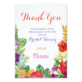 Thank You Bridal Shower Tiki Aloha Luau Cards