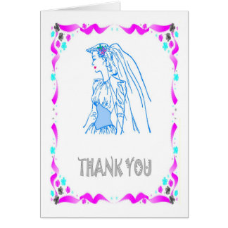 Thank you - Bride, sketch in blue Card