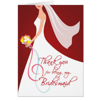 Thank you Bridesmaid - Burgundy Red Cards