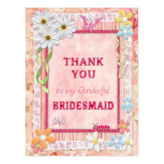 Thank you Bridesmaid, flowers craft card Postcard