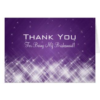 Thank You Bridesmaid Glamorous Sparks Purple Greeting Card