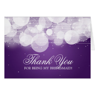 Thank You Bridesmaid Glow & Sparkle Purple Card