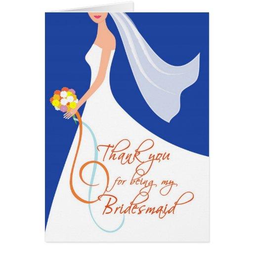 Thank you Bridesmaid - Navy Blue 2 Greeting Cards
