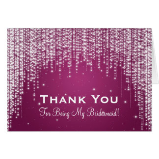 Thank You Bridesmaid Night Dazzle Berry Pink Card