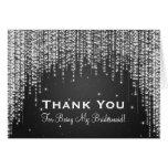 Thank You Bridesmaid Night Dazzle Black Greeting Cards