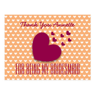 THANK YOU Bridesmaid Red Hearts Coral Background 7 Postcard