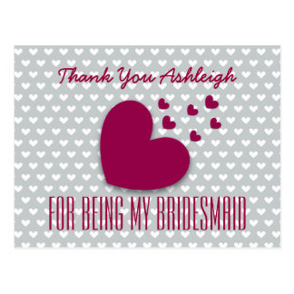 THANK YOU Bridesmaid Red Hearts Gray Background 3 Postcard