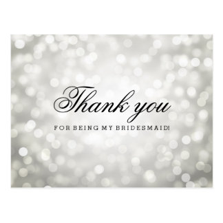 Thank You Bridesmaid Silver Glitter Lights Postcard