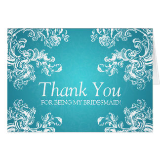 Thank You Bridesmaid Vintage Swirls 2 Turquoise Card