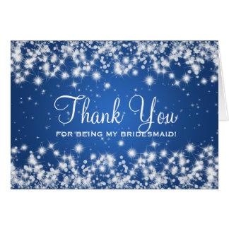 Thank You Bridesmaid Winter Sparkle Blue Card