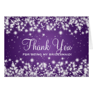 Thank You Bridesmaid Winter Sparkle Purple Card