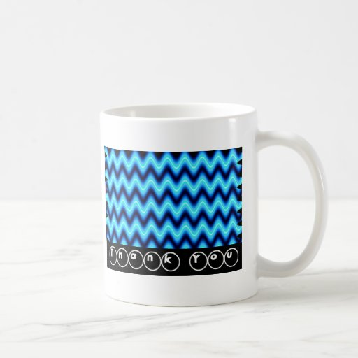 Thank You Bright Blue Wave Coffee Mugs