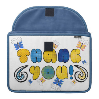 """""""Thank you"""" bright doodle design, kids drawing yel Sleeve For MacBook Pro"""