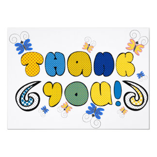 """Thank you"" bright doodle design, kid's drawings Card"