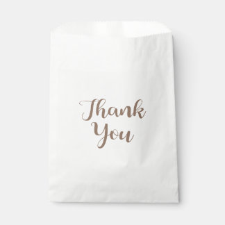 Thank You Brown And White Wedding Party Typography Favour Bags