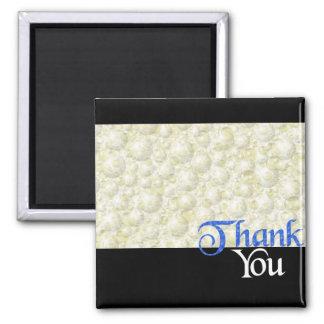 Thank You Bubbles Blue Square Magnet