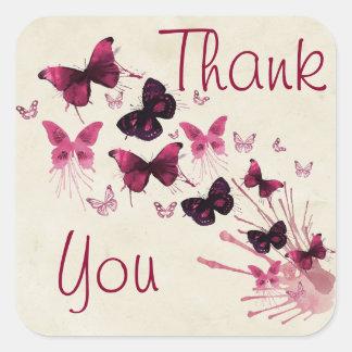 Thank You Burgundy Butterflies Sticker