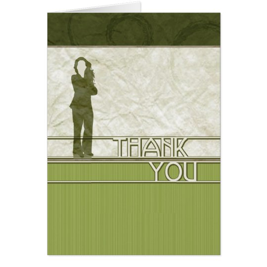 thank you : business silhouette : card