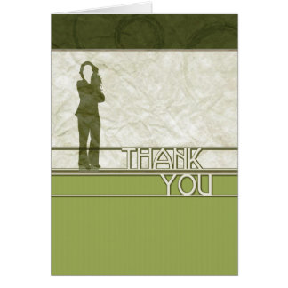 thank you : business silhouette : greeting card