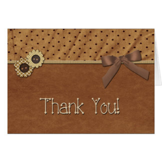 Thank You Buttons Bow Greeting Card