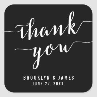 Thank You Calligraphy Black Wedding Stickers