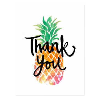thank you calligraphy on watercolor pineapple postcard