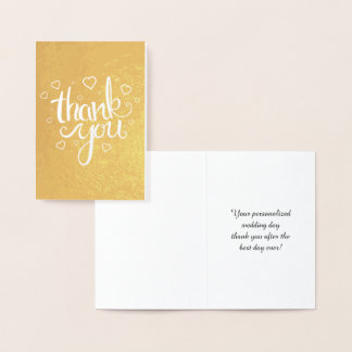 Thank You Calligraphy Typography Gold Foil Card