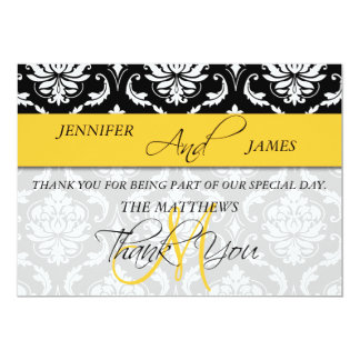 Thank You Card 2 Damask Monogram Name Yellow 13 Cm X 18 Cm Invitation Card