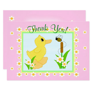 Thank You Card Baby Shower Yellow Rubber Duck
