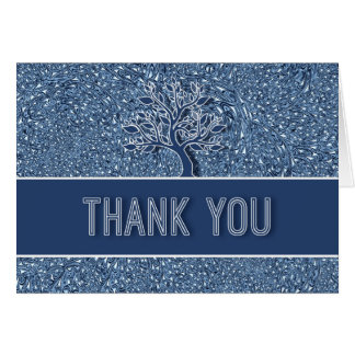 Thank You Card Blue Paisley with Oak Tree