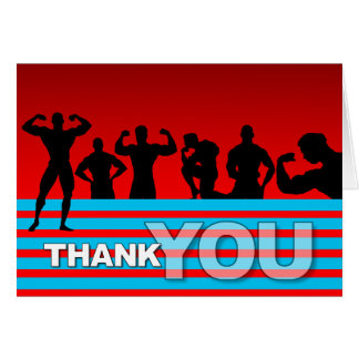 Thank You Card Bodybuilder Blue Stripe