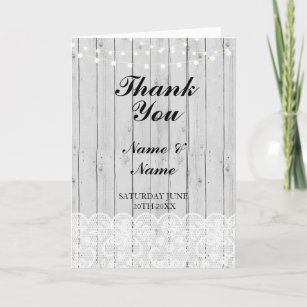 thank you card bridal lace wood wedding engagement - Engagement Thank You Cards